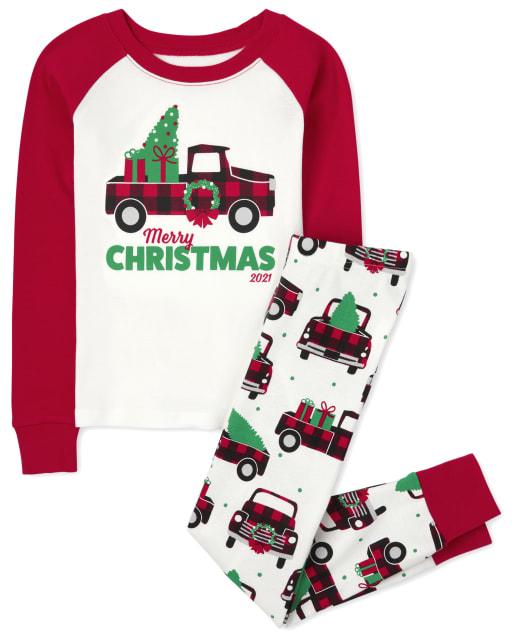 Unisex Kids Long Sleeve Christmas Truck Snug Fit Cotton Pajamas