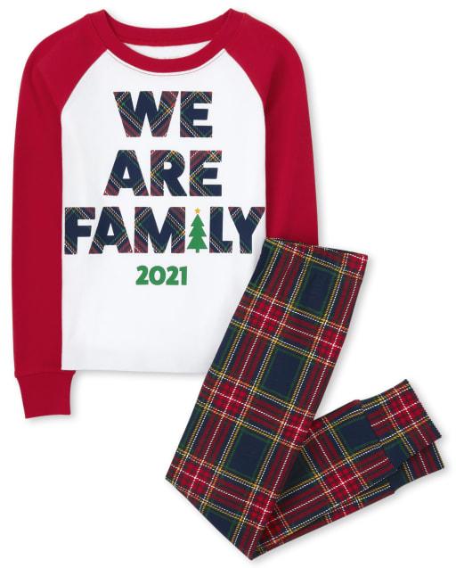 Unisex Kids Matching Family Christmas 'We Are Family 2021' Snug Fit Cotton Pajamas