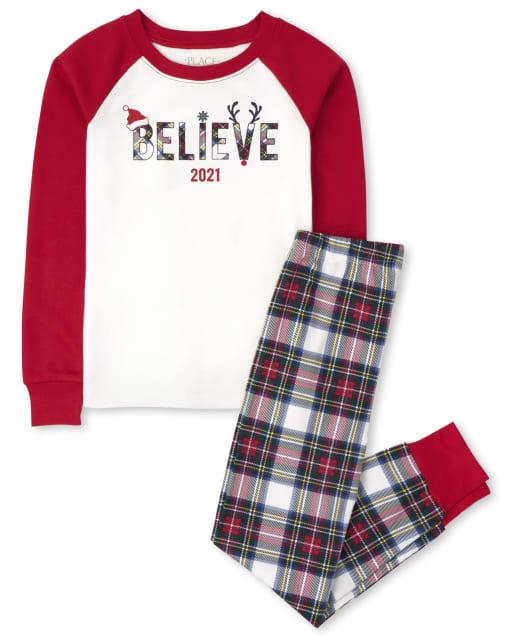 Unisex Kids Matching Family Christmas Long Sleeve 'Believe 2021' Snug Fit Cotton Pajamas