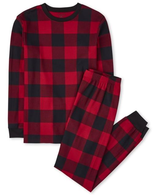 Unisex Adult Matching Family Christmas Long Sleeve Thermal Buffalo Plaid Cotton Pajamas