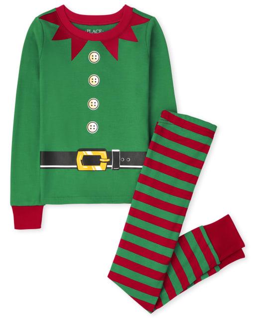 Unisex Kids Christmas Long Sleeve Elf Snug Fit Cotton Pajamas