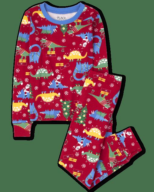 Pijama de algodón unisex de manga larga con estampado de dinosaurio navideño y ajuste ceñido para niños