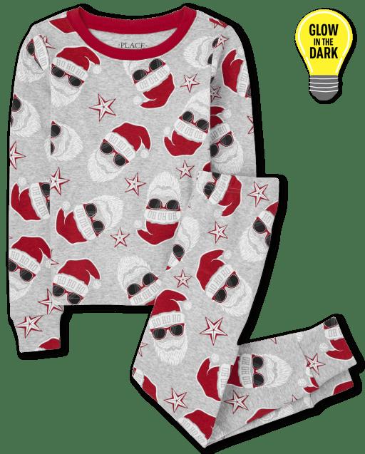 Unisex Kids Matching Family Christmas Long Sleeve Glow In The Dark Santa Print Snug Fit Cotton Pajamas