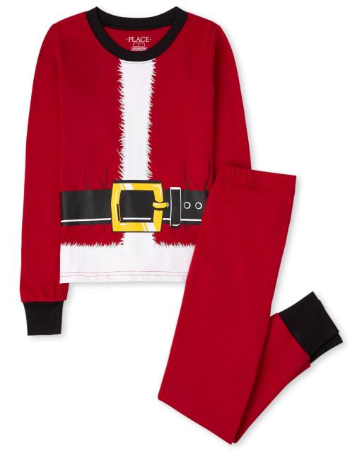 Unisex Kids Matching Family Christmas Long Sleeve Santa Snug Fit Cotton Pajamas