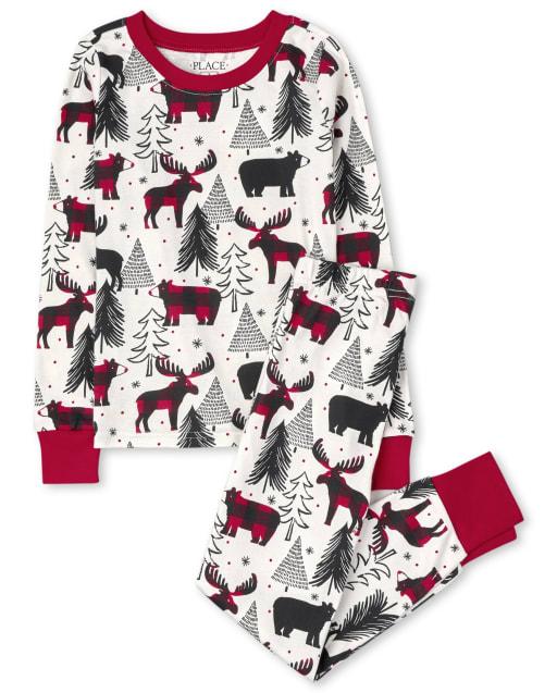 Pijama de algodón con ajuste ceñido de oso de invierno de manga larga de Navidad familiar a juego para niños unisex