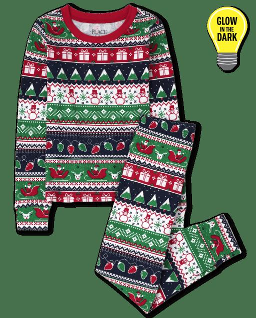Pijamas de algodón de manga larga unisex para niños que brillan en la oscuridad de Navidad Fairisle Snug Fit