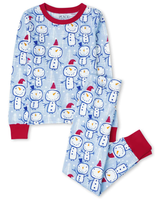 Pijama de algodón con estampado de muñeco de nieve de manga larga de Navidad para niños unisex