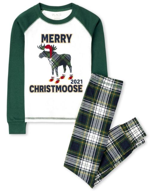 Unisex niños a juego familia manga larga ' Merry Christmoose 2021 ' pijama de algodón ajustado