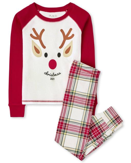 Pijama de algodón con estampado de reno de manga larga unisex para niños