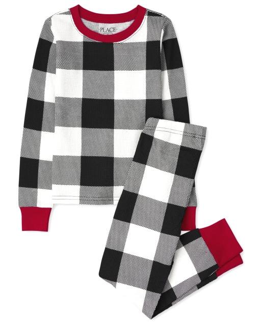 Pijama de algodón con ajuste ceñido a cuadros de búfalo térmico de manga larga de Navidad familiar a juego para niños unisex