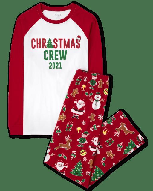 Unisex adulto a juego familia de manga larga de algodón de la tripulación de Navidad y pantalones de felpa estampados pijamas