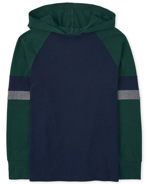 Boys Long Sleeve Colorblock Hoodie Top