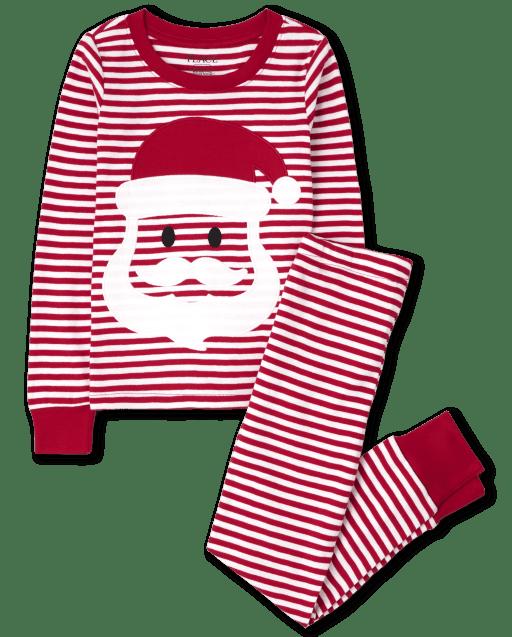 Pijama de algodón unisex para niños de Navidad de manga larga a rayas con ajuste ceñido de Papá Noel