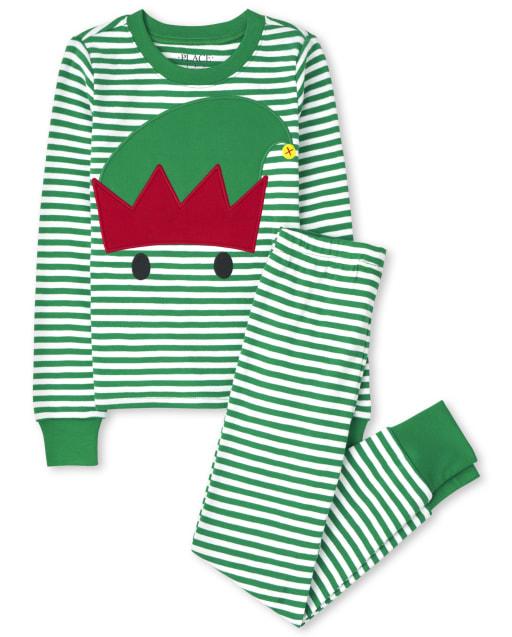 Pijama de algodón con ajuste ceñido a rayas de elfo de manga larga de Navidad para niños unisex