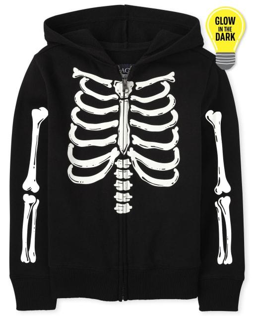 Sudadera con capucha y cremallera de esqueleto unisex de manga larga para niños de Halloween que brilla en la oscuridad