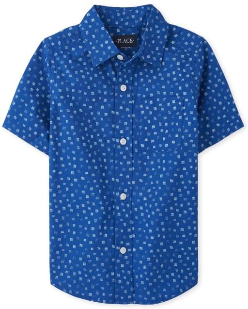 Camisa de manga corta con botones de popelina estampada para niños