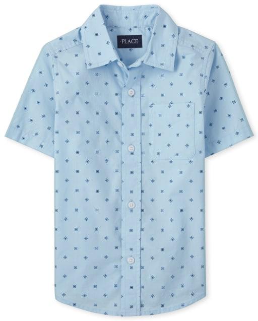 Boys Short Sleeve Print Poplin Button Down Shirt