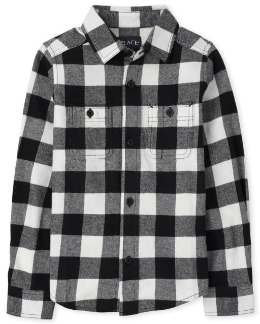 Boys Matching Family Long Sleeve Buffalo Plaid Flannel Button Down Shirt