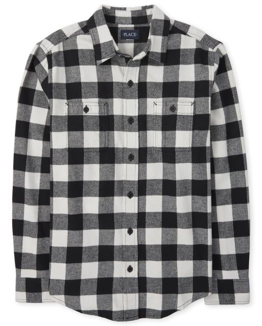 Mens Matching Family Long Sleeve Buffalo Plaid Flannel Button Down Shirt