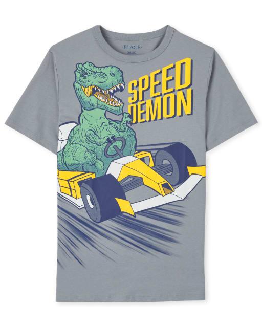 Boys Short Sleeve 'Speed Demon' Dino Graphic Tee