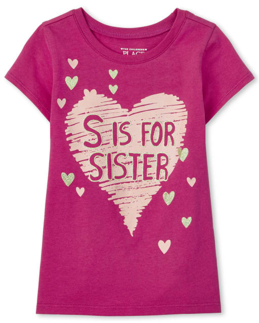 Baby And Toddler Girls Short Sleeve 'S Is For Sister' Graphic Tee