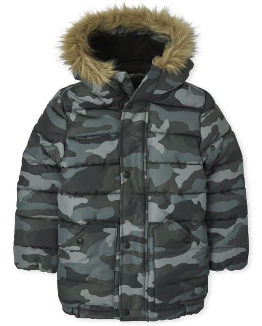 Boys Long Sleeve Camo Parka Jacket