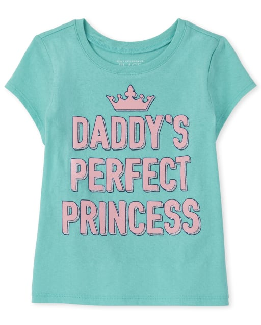 Baby And Toddler Girls Short Sleeve 'Daddy's Perfect Princess' Graphic Tee