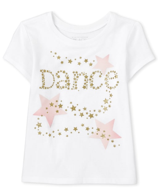 Baby And Toddler Girls Short Sleeve 'Dance' Graphic Tee