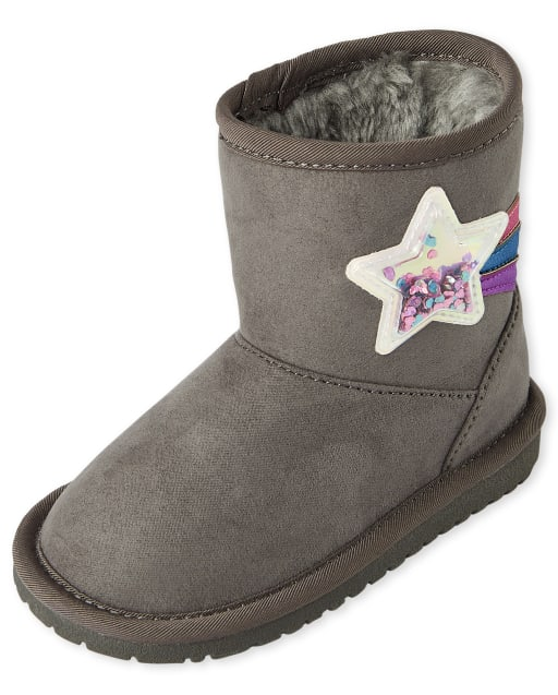 Toddler Girls Confetti Shaker Star Faux Suede Boots