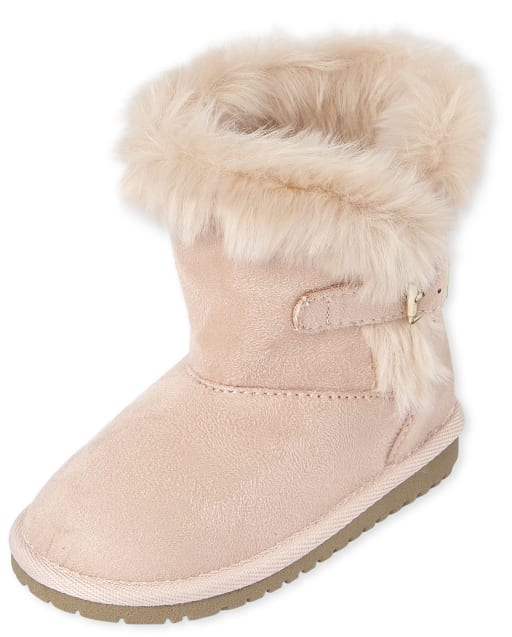 Toddler Girls Buckle Faux Suede Boots