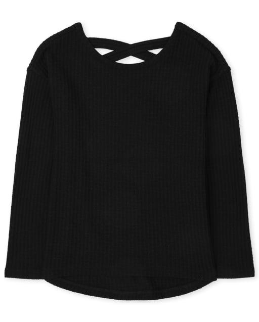 Girls Long Sleeve Cross Back Thermal Lightweight Sweater