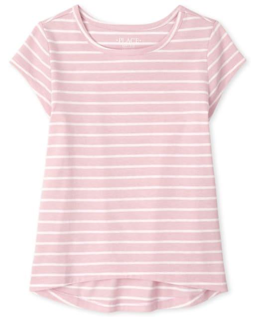 Camiseta básica de rayas de manga corta para niñas