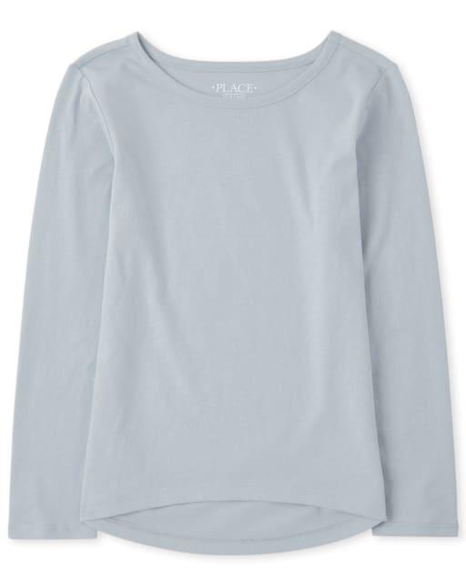 Camiseta básica de manga larga para niñas