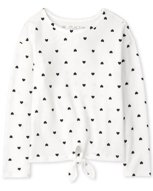 Camiseta térmica de manga larga estampada con lazo en la parte delantera para niñas