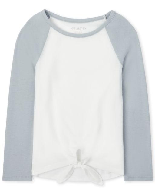 Girls Long Raglan Sleeve Tie Front Basic Layering Tee