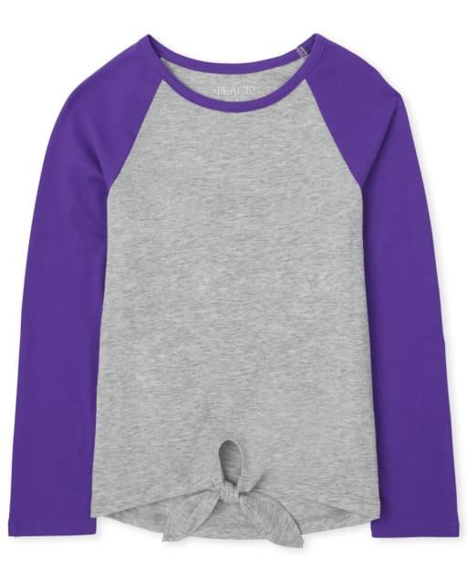 Camiseta básica con capas de manga raglán larga con lazo en la parte delantera para niñas