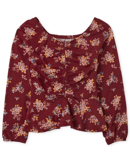 Top campesino de manga larga con estampado floral para niñas