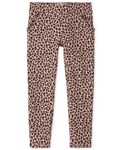 Girls Leopard Ponte Knit Pull On Jeggings