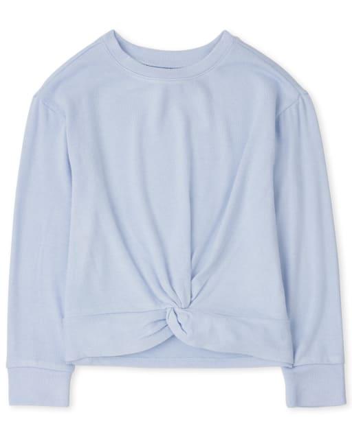 Girls Active Long Sleeve Twist Front Lightweight Sweater Top
