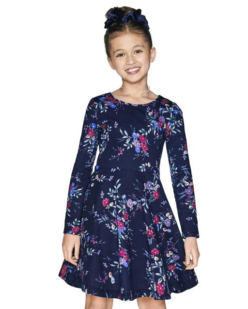 Girls Long Sleeve Floral Print Knit Skater Dress