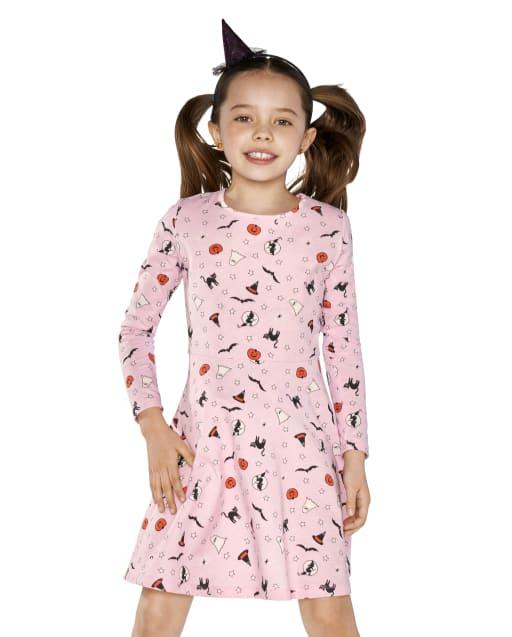 Girls Long Sleeve Halloween Print Knit Skater Dress