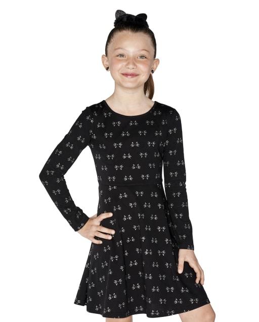 Girls Halloween Long Sleeve Cat Whiskers Print Knit Skater Dress