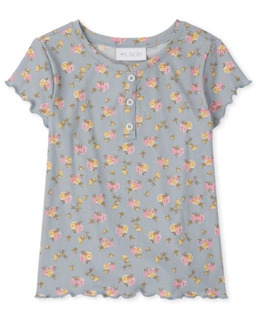 Camiseta henley acanalada de manga corta con estampado floral para niñas