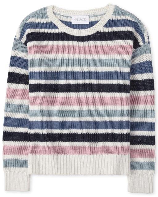 Suéter de rayas de manga larga para niñas