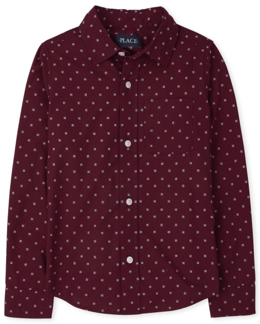 Boys Long Sleeve Print Poplin Button Down Shirt