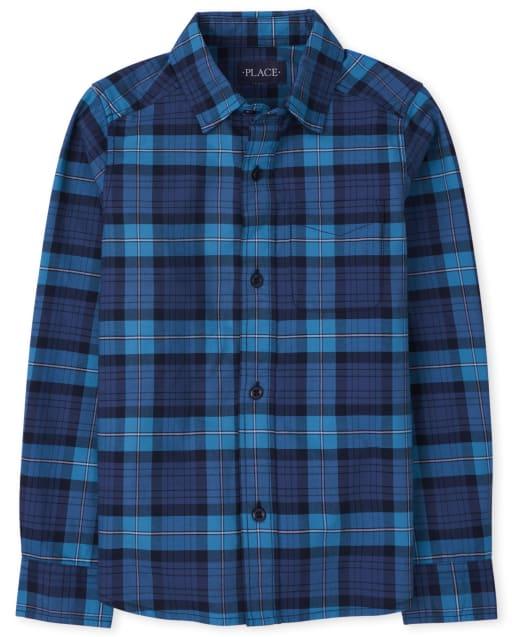 Boys Long Sleeves Plaid Oxford Button Down Shirt