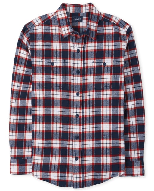 Mens Matching Family Long Sleeve Plaid Flannel Button Down Shirt