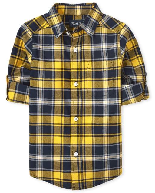 Camisa Oxford de cuadros con mangas largas enrolladas para niños