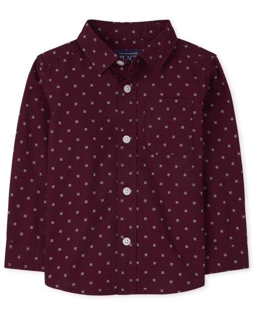 Baby And Toddler Boys Long Sleeve Print Poplin Button Down Shirt