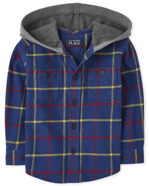 Baby And Toddler Boys Long Sleeve Plaid Flannel Hooded Button Down Shirt